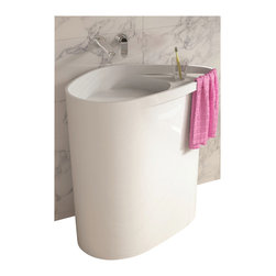 ADM - ADM White Solid Sruface Stone Resin Pedestal Sink, Glossy - DW-128