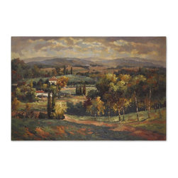 Uttermost - Uttermost Scenic Vista Canvas Wall Art 32165 - This scenic artwork is a hand painted oil that has been done on crackled canvas. The canvas has been stretched and mounted on a hardback. Sides are painted black. Due to the handcrafted nature of this artwork, each piece may have subtle differences.