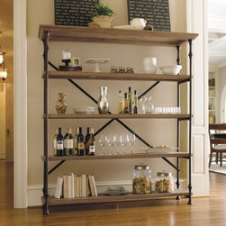Great Rooms Rack Bookcase - Oaken Bucket - The airy, open design of the Great Rooms Rack Bookcase – Oaken Bucket provides tons of storage without feeling bulky and intrusive. Great for use in any room, this bookcase doesn't only store books; it can display kitchenware, bar accessories, towels and a number of decorative items. Sturdy metal supports add stability and style, and the five shelves are crafted of select hardwoods and oak veneers for a durable, high-end look that is sure to compliment any décor. This item comes fully assembled for your convenience.