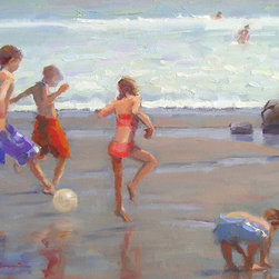 """""""World Cup Fever"""", Original Frank LaLumia Oil Painting - Enjoy the beach year round with this original framed oil painting by noted plein air artist, Frank LaLumia.  The painting is a 12"""" x 16"""" original oil on canvas, affixed on a wood backing, mounted in a 18"""" x 22"""" gilded craftsman style frame.  Signed by the artist on the lower left and on the verso."""