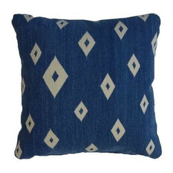 Pre-owned Bright Blue Kilim Rug Pillow - Diamonds are a girl's best friend... But who says pillows can't be, too! These embroidered pillows are the perfect graphic pop of color.