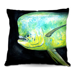 DiaNoche Designs - Pillow Woven Poplin from DiaNoche Designs by Marley Ungaro - Deep Sea Life- Mahi - Toss this decorative pillow on any bed, sofa or chair, and add personality to your chic and stylish decor. Lay your head against your new art and relax! Made of woven Poly-Poplin.  Includes a cushy supportive pillow insert, zipped inside. Dye Sublimation printing adheres the ink to the material for long life and durability. Double Sided Print, Machine Washable, Product may vary slightly from image.