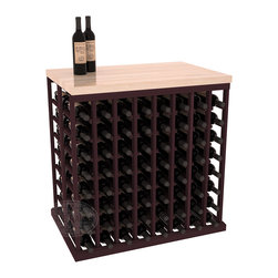 Double Deep Tasting Table Wine Rack Kit + Butcher Block Top in Redwood with Burg - The quintessential wine cellar island; this wooden wine rack is a perfect way to create discrete wine storage in open floor space. Includes a culinary grade Butcher's Block top. With an emphasis on customization, install LEDs to create an intimate wine tasting setting. We build this rack to our industry leading standards and your satisfaction is guaranteed.
