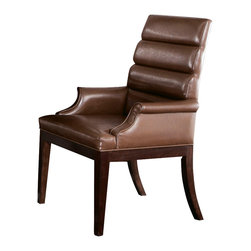 American Drew - American Drew Miramar Upholstered Arm Chair in Auburn on Prima Vera, Set of 2 - Belongs to Miramar Collection by American Drew, Auburn on Prima Vera Finish, Smoky Brown Accents, Upholstered in Brown, Packed 2 per carton, Arm Chair 2