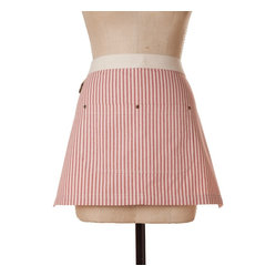 Birdkage - Brittany Mini Half Apron, Red - This stylish apron moves easily from kitchen to craft studio to store counter, so you'll look dressy while you're getting messy. Made of cotton in a classic ticking stripe, it features a contrasting waistband and blue jean rivets at the pockets. Comes in a reusable muslin drawstring bag.