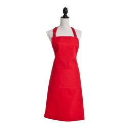 Saro - Denim Apron, Red - Dodge the spills with a colorful apron while you're prepping your next meal.