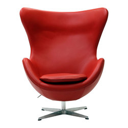 East End Imports - Arne Jacobsen Style Glove Chair in Aniline Leather Red - Delight in perfect symmetry with the harmonious Arne Jacobsen style Glove Chair. Designed with sprawling wing tips and amorphous form, the Glove Chair is a study of opposites built from the most exacting design specifications. Layered in fine aniline leather over a cozy foam frame, adorn yourself with precision as you embark on a more sophisticated state.