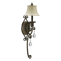 Quorum Lighting - Quorum Lighting Fulton Traditional Wall Sconce X-45-1-2355 - Old World grace meets durable functionality in this traditional wall sconce. The intricate curving styling with a classic bronze finish provides vintage appeal and ensures quality. The tear-drop cut glass pendants reflect the friendly glow from the beige fabric shades and make this a cool bit of decor for your living room or bedroom.