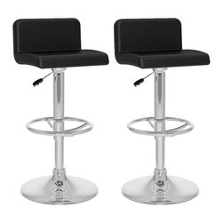 Sonax - Sonax CorLiving Low Back Bar Stool in Black Leatherette (Set of 2) - Sonax - Bar Stools - B307UPD - Add spice to any bar or kitchen island with the Bar Stool featuring a comfortable padded seat with a stylish low backrest. Finished in Black soft leatherette upholstery with a chrome foot rest, chrome gas lift and chrome base, this bar stool easily adjusts to variable bar heights to suit your dining needs. A great addition to any home!