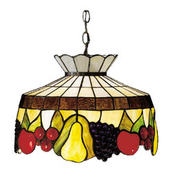 Meyda Tiffany - Meyda Tiffany Fruit Tiffany Pendant Light X-97392 - Fresh and ripe, these newly harvested fruits will stimulate the hunger of guests! This colorful Tiffany pendant light comprises of delicious apples, golden pears, ruby red cherries, and amethyst grapes within a hanging fruit basket. Finished in Mahogany Bronze, this wonderful light fixture complements kitchens, dining rooms, and entertainment areas.