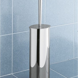 Gedy - Chrome Floor Standing Toilet Brush Holder - A designer toilet brush holder for your luxurious master bath. Available in chrome and made in brass, this high-quality toilet bowl brush holder is manufactured in and imported from in Italy by Gedy and is part of the Gedy Mistral collection. Consider this round floor standing toilet brush holder. Toilet brush holder from the Gedy Mistral collection. Made in brass and coated with chrome. Designer modern & contemporary toilet brush & holder for your designer personal bathroom. Manufactured in and imported from Italy.