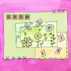 Oh How Cute Kids by Serena Bowman - Grow with Pink, Ready To Hang Canvas Kid's Wall Decor, 11 X 14 - Each kid is unique in his/her own way, so why shouldn't their wall decor be as well! With our extensive selection of canvas wall art for kids, from princesses to spaceships, from cowboys to traveling girls, we'll help you find that perfect piece for your special one.  Or you can fill the entire room with our imaginative art; every canvas is part of a coordinated series, an easy way to provide a complete and unified look for any room.