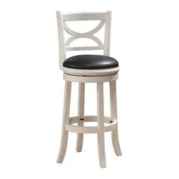 Boraam - Hardwood Florence Bar Stool w Flared Legs, Up - Durable and easy to clean black PVC upholstery. Seat band beneath cushion. Swivel hidden for more finished look. Steel ball bearing swivel. Flared legs and footrest. Made from Solid hardwood RTA. Maximum Weight Capacity: 250 LBS. Not suitable for commercial use. Seat Diameter: 17 in.. Seat Height: 29 inches. 18 in. W x 22 in. D x 43.5 in. H (28 lbs.)