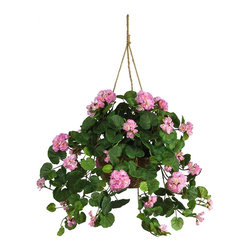 Nearly Natural - Geranium Hanging Basket Silk Plant - Not for outdoor use. Abundance of flowers, buds and leaves. Crafted with quality and detail in mind. Complete with decorative hanging basket. Included container size: 10 in. W X 6 in. H32 in. W X 32 in. D X 24 in. H (2lbs). Spruce up your home or office space with these vibrant colored geraniums. Bold yet delicately crafted petals rest peacefully among a bed of rich leaves, with both large and small blooms adorning this expertly designed masterpiece. Between the lush, soft petals and the authentic colored leaves, you'll find yourself reaching for the watering can. A tasteful wicker planter filled with artificial soil adds to the natural appeal of this gorgeous geranium silk hanging basket.
