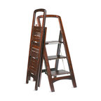 """Frontgate - Wooden Stepladder - Crafted from solid wood. Steel-reinforced steps. Safety rail adds comfort. Oversized platform locks into place for added security. Rich mahogany finish. Forget flimsy plastic and step up to this high-quality Wooden Stepladder. This step ladder is ready at a moment's notice for lending a helping hand, then folds neatly away in a 2-1/2""""-deep space. . . . . . Folds flat for easy storage. 225-lb. weight capacity."""