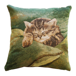 Pillow Decor Ltd. - Pillow Decor - Sleeping Cat in Green 14 x 14 Throw Pillow - This Jacquard-woven tapestry pillow is the cat's meow. Perfect for feline aficionados, a sweet kitten is fast asleep in a pile of pillows. Toss it on your couch to add a bit of personality.