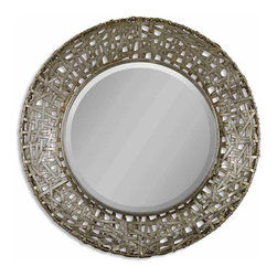 Uttermost - Classic and Lovely Uttermost Alita Champagne Woven Metal Mirror Home Decor - Classic and lovely inspired uttermost Alita champagne woven metal mirror living dining and family room home accent decor