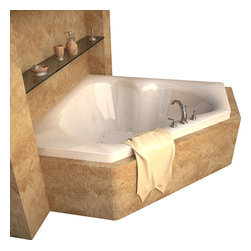 Spa World Corp - Atlantis Tubs 6060CAR Cascade 60x60x23 Inch Corner Air Jetted Bathtub - The cascade series bathtubs feature a three-cockpit cradle opening, rounded interior edges for safety and luxury, stylish design, and a standard corner installation. An airpool bathtub creates thousands of warm bubbles that stimulate the skin's light touch receptors, producing an overall calming effect. An air blower works like a giant hair dryer, taking the room temperature air, increasing it by approximately 30-degrees and blowing it through the bath. Air baths differ from a whirlpool in that the massage is much softer. Drop-in tubs have a finished rim designed to drop into a deck or custom surround. They can be installed in a variety of ways like corners, peninsulas, islands, recesses or sunk into the floor. A drop in bath is supported from below and has a self rimming edge that is designed to sit over a frame topped with a tile or other water resistant material. The trim for the air or water jets is featured in white to color match the tub.