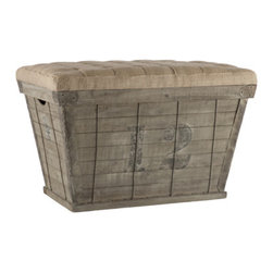 Storage Crate in Black - Aidan Gray - I love the eclectic look of this rustic storage ottoman. A vintage style crate has a removable tufted top, so that you can stash away clutter like toys, magazines or shoes at a moment's notice.
