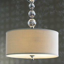 """Horchow - Glass Ball Chandelier - Glass balls and a linen drum shade give this handcrafted pendant contemporary appeal while still offering a nod to traditional sophistication. Frame is steel. Uses three 75-watt bulbs. 17""""Dia. x 24""""T with 6'L chain. Imported."""