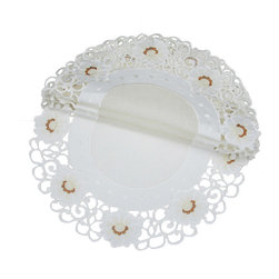 Xia Home Fashions - Victorian Elegance Set of 4 12-Inch Round Doily - Refined floral embroidery is rendered with cutwork and sheer to create a linens collection that is both classic and chic!