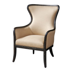 "Uttermost - Zander Tan Wingback Armchair - White Mahogany, Solid Wood Construction With Doweled, Reinforced Joinery And Hand Applied, Weathered Black Finish Showing Natural Wood Undertones. Tailored Upholstery Is Light Tan Linen Accented By Solid Brass Nails. Seat Height Is 20"". Bulbs Included: No"