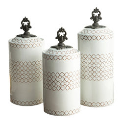 Jay Import Co. - White Canisters, Set of 3 - Give your dry goods an upgrade with this set of earthenware canisters. These artistically designed containers will bring beauty to any countertop, hiding away your rice and coffee while keeping it well within reach.