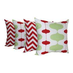 Land of Pillows - Ivon Kiwi Green and Zig Zag Chevron Stripe Lipstick Red Christmas Pillow Set, 16 - Fabric Designer - Premier Prints