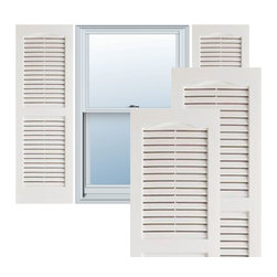 "Alpha Systems LLC - 14"" x 31"" Builders Choice Vinyl Open Louver Shutters,w/Screws, White - Our Builders Choice Vinyl Shutters are the perfect choice for inexpensively updating your home. With a solid wood look, wide color selection, and incomparable performance, exterior vinyl shutters are an ideal way to add beauty and charm to any home exterior. Everything is included with your vinyl shutter shipment. Color matching shutter screws and a beautiful new set of vinyl shutters."