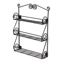 Spectrum Diversified Designs - Scroll Spice Rack Wall Mount Boxed, Black - Store all of your spices in one place with the 3-Tier Scroll Wall Mount Spice Rack. Made of sturdy steel, the beautiful scroll design will add a traditional touch to your home.