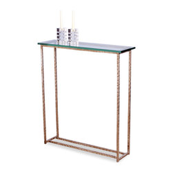 Kathy Kuo Home - Edland Modern Silver Leaf Glass Console Sofa Table - Elegantly poised, this antique silver console table can be used by a window sill, or doubled up behind a sofa.  Wonderful hand hammered finish on the iron legs adds to the hand made appeal of the table