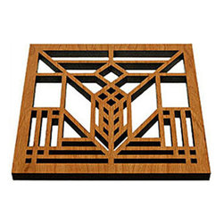 """Lightwave Laser - Wright Lake Geneva Hardwood Trivet - The Frank Lloyd Wright Lake Geneva Trivet design is adapted from art glass windows originally found in the now demolished Lake Geneva Inn, Lake Geneva, Wisconsin 1911. Precision laser cut wood for quality of finish and design accuracy. Comes with sawtooth hanger for (optional) wall display. Cushioned feet. Dimensions: 7.75"""" x 7.75"""" x .5""""."""