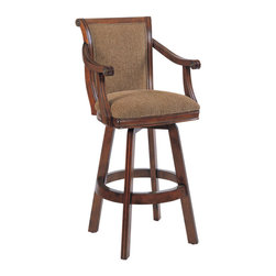 Powell - Powell Brandon Warm Cherry Swivel Bar Stool - Brandon Warm Cherry Swivel Bar Stool belongs to Brandon Collection by Powell Casual, easy living design.  Features include a strong frame on a self-return swivel with metal clad foot rail.  Generous woven webbing supported seat with sweeping open arm design for added comfort and support. Finished in a lightly distressed warm cherry with a satin sheen. Upholstered in a resilient Light Brown   25% cotton, 75% polyester fabric.  Base to swivel assembly required.  Barstool (1)