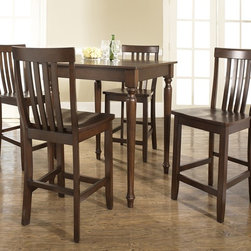 Crosley Furniture - 5 Pc Pub Dining Set w School House Stools in - Includes Pub Table and 4 Stools in Vintage Mahogany. Solid Hardwood & Veneer Construction Table . Solid Hardwood Stools. Hand Rubbed, Multi-Step Finish. Solid Hardwood, Fully Turned, Legs. Shaped Back for Comfort. Table Dimensions: 36 in. H x 32 in. W x 32 in. D. Stool Dimensions: 40 in. H x 18.5 in. W x 22.5 in. DConstucted of solid hardwood and wood veneers, the 5 piece Pub / High Dining set is built to last. Whether you are looking for dining for four, or just a great addition to the basement or bar area, this set is sure to add a touch of style to any area of your home.