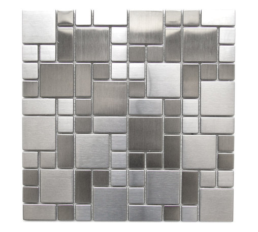Eden Mosaic Tile - Modern Cobble Pattern Stainless Steel Mosaic Tile, Sheet - Inspired by the antique cobblestone streets of Europe this metal mosaic stainless steel tile features three different sizes of tile including a large square small square and medium brick. This tile is ideal for stainless steel kitchen backsplashes, accent walls, bathroom walls, and bathroom back splashes. The tiles in this sheet are mounted on a nylon mesh which allows for an easy installation. Imported.
