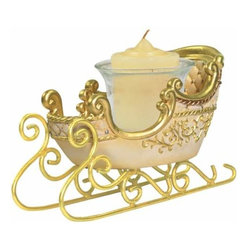 WL - 3.5 Inch White and Gold Sleigh Collectible Xmas Votive Candle Holder - This gorgeous 3.5 Inch White and Gold Sleigh Collectible Xmas Votive Candle Holder has the finest details and highest quality you will find anywhere! 3.5 Inch White and Gold Sleigh Collectible Xmas Votive Candle Holder is truly remarkable.