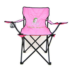Zeckos - Pink Pirate Princess Folding Camp Chair Camping - This super cool pink 'Pirate Princess' folding camp chair has a heavy duty steel frame and a heavy 600 denier nylon seat to give you years of use. The chair holds up to 275 pounds easily, and has hard plastic feet to keep you sturdy. The feet have holes in the bottoms, so you can keep it in place with tent stakes if you wish. The chair measures 32 1/2 inches tall, 32 inches wide and 19 inches deep. This folding camp chair is brand new, never used, and makes a great gift for any lady pirate fan. We have a limited supply of these, so don't delay. Get yours now