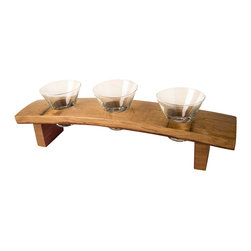 Alpine Wine Design - Serving Dish - This multi-functional serving dish is a beautiful way to serve small candy, small snacks, or a variety of cocktails.  This serving piece is handmade from a wine barrel from Napa Valley.  Finished with cabinet grade lacquer.