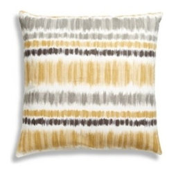 5 Surry Lane - Yellow Gray Ikat Striped Pillow - Throw pillows are an instant facelift for any room in your home: Bedrooms become more interesting and luxurious, living spaces take on a new personality and dens become cozier. This raw silk organza pillow won't break the bank but it will break you out of the ordinary.