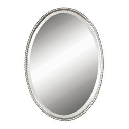 Uttermost - Sherise Oval Mirror by Uttermost - The Uttermost Sherise Oval Mirror smartens up your interior decor with its classy appearance while a moderate pattern at the border brings in an ideal touch of design. The Sherise Oval Mirror features beaded hand forged metal frame with a brushed Nickel or distressed oil rubbed Bronze finish. Since 1975, Uttermost has made it their mission to make great home accessories at a reasonable price. From their headquarters in Rocky Mount, Virginia, Uttermost continues to meet this goal with sophistication and grace through their current line of quality, designer-driven lighting, home furnishings and accessories.