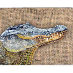 Caroline's Treasures - Alligator Kitchen Or Bath Mat 24X36 - Kitchen / Bath Mat 24x36 - 24 inches by 36 inches. Permanently dyed and fade resistant. Great for the Kitchen, Bath, outside the hot tub or just in the door from the swimming pool.    Use a garden hose or power washer to chase the dirt off of the mat.  Do not scrub with a brush.  Use the Vacuum on floor setting.  Made in the USA.  Clean stain with a cleaner that does not produce suds.