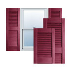 """Alpha Systems LLC - 12"""" x 55"""" Premium Vinyl Open Louver Shutters,w/Screws, Berry Red - Our Builders Choice Vinyl Shutters are the perfect choice for inexpensively updating your home. With a solid wood look, wide color selection, and incomparable performance, exterior vinyl shutters are an ideal way to add beauty and charm to any home exterior. Everything is included with your vinyl shutter shipment. Color matching shutter screws and a beautiful new set of vinyl shutters."""