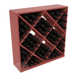 Wine Racks America - Solid Diamond Wine Storage Cube in Pine, Cherry + Satin Finish - Elegant diamond bin style bottle openings make for simple loading of your favorite wines. This solid wooden wine cube is a perfect alternative to column-style racking kits. Double your storage capacity with back-to-back units without requiring more access area. We build this rack to our industry leading standards and your satisfaction is guaranteed.