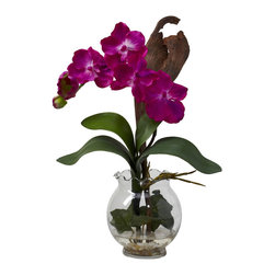 Nearly Natural - Nearly Natural Mini Vanda with Fluted Vase Silk Flower Arrangement in Beauty - A delightful mixture of shapes, colors, and textures awaits you with this gorgeous Mini Vanda. Delicate green leaves curve upward, forming a base from which the soft blooms emerge. The result is a piece that looks like you paid a treasure hunter to find. A beautiful fluted bowl with faux water completes the picture. Makes a classy gift as well.