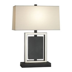"Robert Abbey - Crispin Table Lamp by Robert Abbey - A lovely blend of rich and classic with relaxed and inviting. The Crispin Table Lamp features a rectangular fondine fabric shade, a bronze finish and antique silver accents. At 25"" in height, the Crispin is an excellent choice for transitional and modern traditional spaces, both casual and formal. Robert Abbey has been designing and manufacturing fine lighting since 1946. They offer a diverse collection--wall swingers, chandeliers, floor lamps and more--in a myriad of styles, from tradition to neoclassical to groovy. Collaborating with acclaimed designers Jonathan Adler, Rico Espinet and David Easton, Robert Abbey creates impeccable lighting that is perfect for modern everyday living.The Robert Abbey Crispin Table Lamp is available with the following:Details: Rectangular Fondine fabric shadeMetal baseDeep Patina Bronze finishAntique Silver accents3-way switchUL ListedLighting:  One 150 Watt 120 Volt Type A Incandescent lamp (not included).Shipping:This item usually ships within 4-6 weeks."