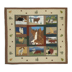 Patch Quilts - Rocky Mountain Quilt King 105 x 95 Inch - Intricately appliqued and beautifully hand quilted  - Bedding ensemble from Patch Magic  the name for the finest quality quilts and accessories  - Machine washable  - Line or Flat dry only Patch Quilts - QKRCKY