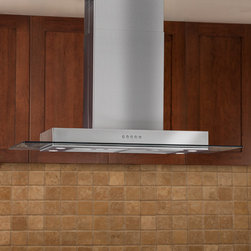 "Domier 2100 Series 36"" Stainless Steel Island Range Hood - 860 CFM - This eye-catching range hood will add modern style to your kitchen with its clean linear design. The Domier 2100 Series 36"" Island Stainless Steel Range Hood features two halogen lights, a three speed blower and a telescoping flue to accommodate most ceiling heights."