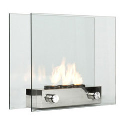 Contemporary Portable Fireplace - Handsome, elegant, and portable, this contemporary fireplace has floating glass panels held in place by a durable brushed nickel base. The fireplace lets you see the flames when in use, adding warmth and upping the cozy factor of any space. When the flames aren't in use, simply replace the gel fuel cans with decorative pillar candles. Perfect for indoor/outdoor use and in small spaces and lofts.