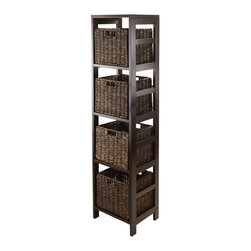 Winsome Trading - Winsome Granville 5 Piece Storage Tower Shelf with 4 Foldable Baskets Multicolor - Shop for Bookcases from Hayneedle.com! The open-frame style of the Winsome Granville 5 Piece Storage Tower Shelf with 4 Foldable Baskets gives it a casual contemporary beauty that perfectly complements the rustic charm of its corn husk wicker storage baskets. The foldable baskets dramatically increase your storage options and the rich espresso and chocolate hues of this wood and wicker combo are sure to make a delicious visual addition to your decor. About WinsomeWinsome has been a manufacturer and distributor of quality products for the home for over 30 years. Specializing in furniture crafted of solid wood Winsome also crafts unique furniture using wrought iron aluminum steel marble and glass. Winsome's home office is located in Woodinville Washington. The company has its own product design and development team offering continuous innovation.