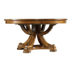 """Hooker Furniture - Hooker Furniture Tynecastle Round Pedestal Dining Table with One 18"""" Leaf - Named for the Tynecastle area of Northern England, the 50-piece Tynecastle collection is inspired by the manor homes and equestrian life of the English countryside. Tynecastle combines classic Georgian architechural details with more rustic timber-frame elements and leather accents, creating a """"manor home to tack room"""" Hunt Country flavor."""